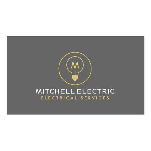 LIGHT BULB MONOGRAM LOGO for ELECTRICANS Business Cards