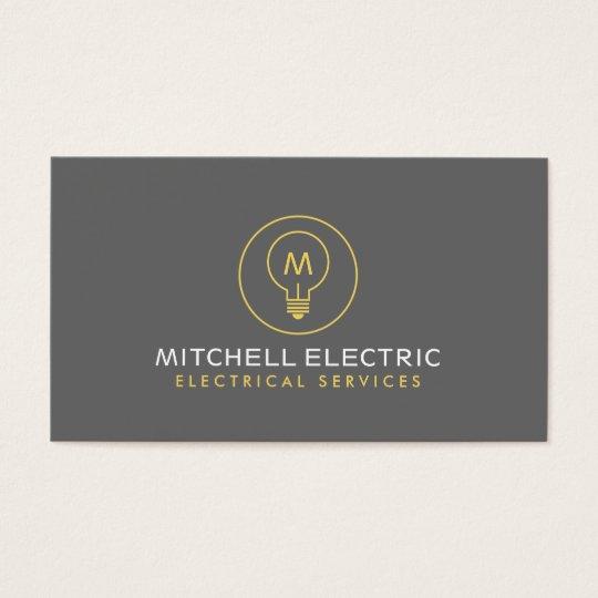 LIGHT BULB MONOGRAM LOGO for ELECTRICANS Business Card