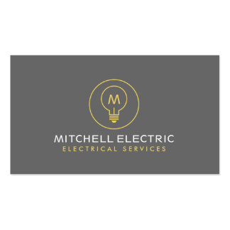 LIGHT BULB MONOGRAM LOGO for ELECTRICANS Pack Of Standard Business Cards