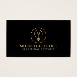 LIGHT BULB MONOGRAM LOGO on BLACK for ELECTRICANS
