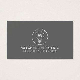 LIGHT BULB MONOGRAM LOGO on GRAY for ELECTRICANS
