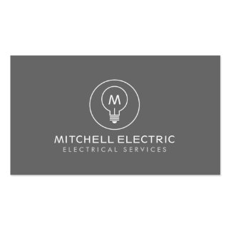 LIGHT BULB MONOGRAM LOGO on GRAY for ELECTRICANS Pack Of Standard Business Cards