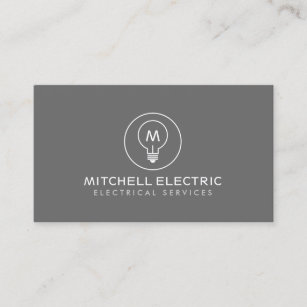 Builder business cards zazzle uk light bulb monogram logo on gray for electricans business card reheart Choice Image