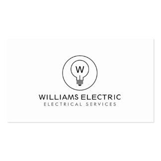LIGHT BULB MONOGRAM LOGO on WHITE for ELECTRICANS Pack Of Standard Business Cards