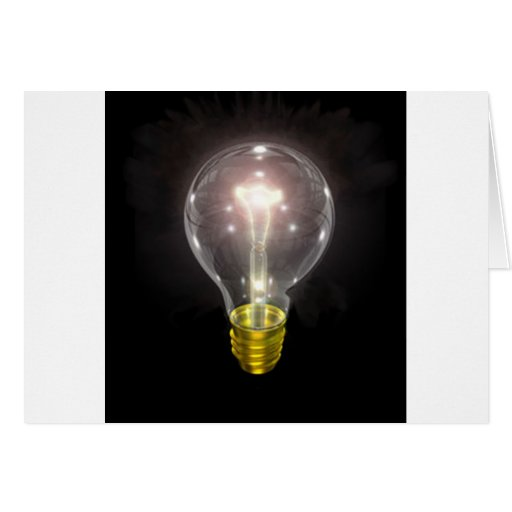 light bulb on blk 3 inch flare greeting card