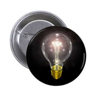 light bulb on blk 3 inch flare pinback buttons