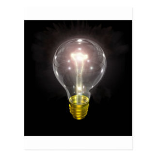 light bulb on blk 3 inch flare postcard