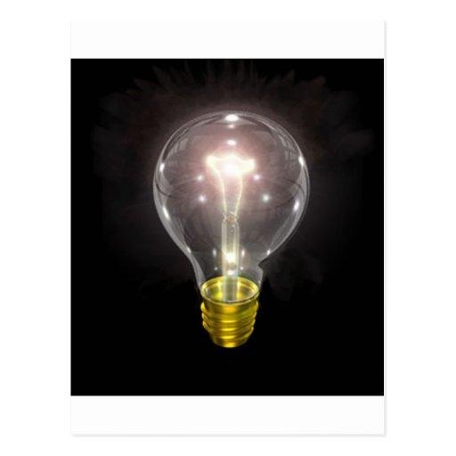 light bulb on blk 3 inch flare postcard