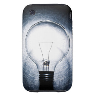 Light Bulb on Stainless Steel Background Tough iPhone 3 Case