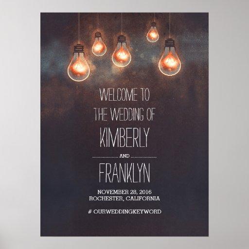 Light Bulbs Strings Wedding Welcome Sign