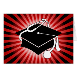 light burst medical graduation cap greeting card