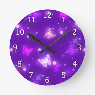 Light Butterflies Violet Purple Design Round Clock