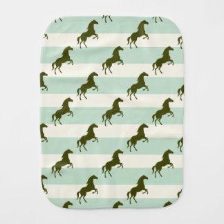 Light Celadon Green and Brown Horse Pattern Baby Burp Cloth