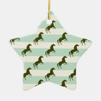 Light Celadon Green and Brown Horse Pattern Ceramic Star Decoration