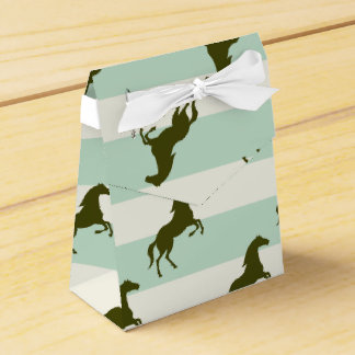 Light Celadon Green and Brown Horse Pattern Wedding Favour Box