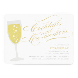 Light Cocktails & Co-workers Holiday Party Invite