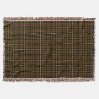 Light coco brown plaid print, black yellow stripe throw blanket