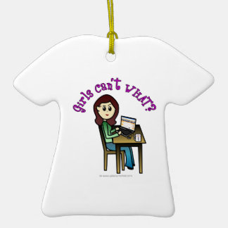 Light Computer Girl Double-Sided T-Shirt Ceramic Christmas Ornament