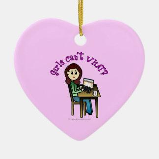 Light Computer Girl Ceramic Heart Decoration