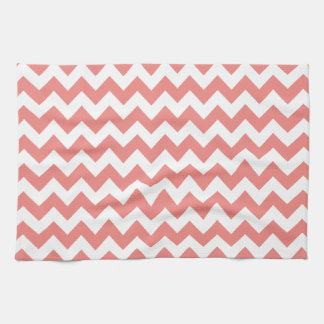 Light Coral Chevron Stripes Tea Towel