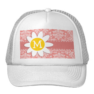 Light Coral Damask; Daisy Mesh Hats