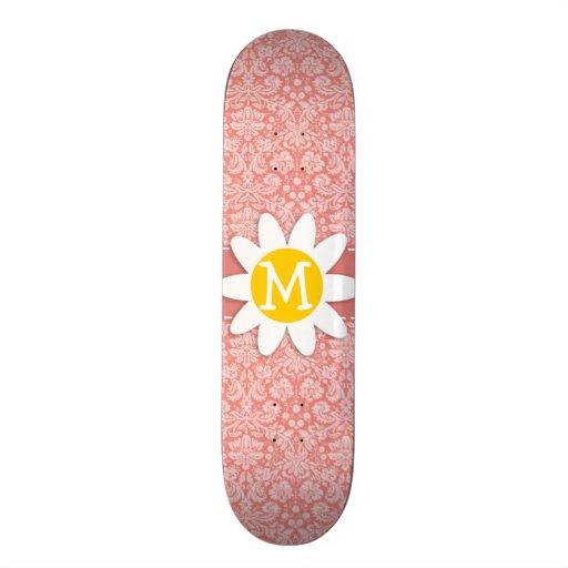Light Coral Damask; Daisy Skate Board Decks