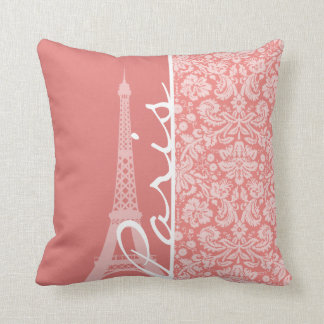 Light Coral Damask; Paris; Eiffel Tower Cushion
