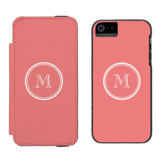 Light Coral High End Colored Monogram Incipio Watson™ iPhone 5 Wallet Case