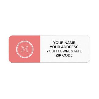 Light Coral High End Colored Monogram Return Address Label