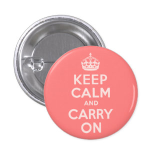 Light Coral Keep Calm and Carry On 3 Cm Round Badge
