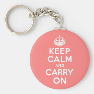 Light Coral Keep Calm and Carry On Basic Round Button Key Ring