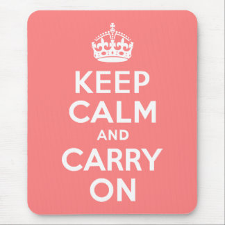 Light Coral Keep Calm and Carry On Mouse Mat