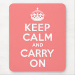 Light Coral Keep Calm and Carry On Mousepad