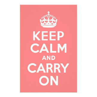 Light Coral Keep Calm and Carry On Stationery