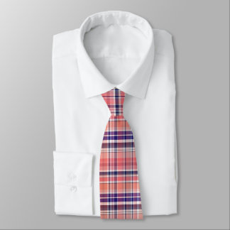 Light Coral, Navy Blue, White Preppy Madras Plaid Tie