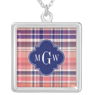 Light Coral Navy Wht Preppy Madras Monogram Silver Plated Necklace