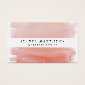 Light Coral Watercolor & White Stripe Business Card