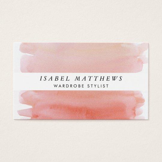 Light Coral Watercolor & White Stripe Business Card