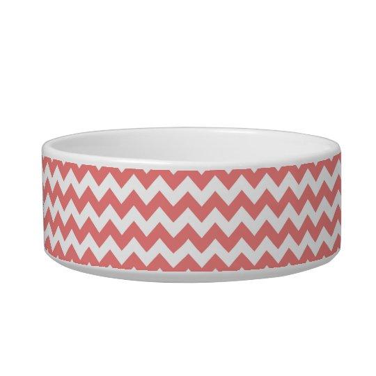 Light Coral White Chevron Zig-Zag Pattern Bowl