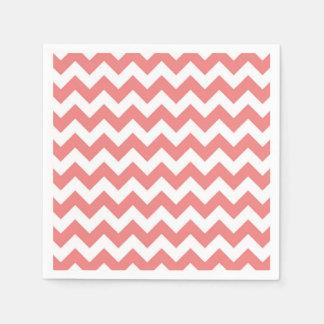 Light Coral White Chevron Zig-Zag Pattern Disposable Napkin