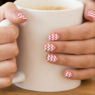 Light Coral White Chevron Zig-Zag Pattern Minx Nail Art
