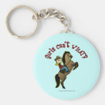 Light Cowgirl on Horse Basic Round Button Key Ring