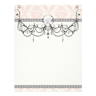 light cream and pink damask 21.5 cm x 28 cm flyer