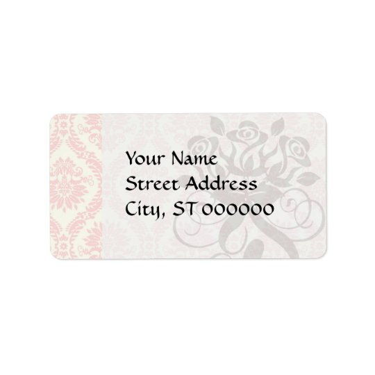 light cream and pink damask label