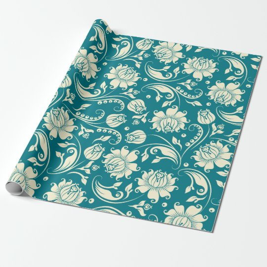 Light Cream & Teal-Green Floral Damasks Wrapping Paper