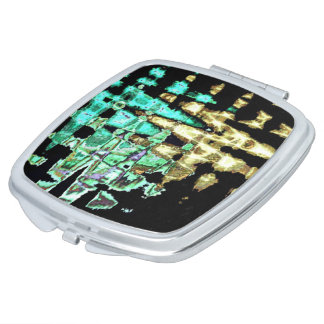 Light Cyan faded gold multi shade Square colors Travel Mirrors
