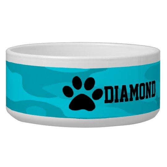 Light &Dark Blue Camouflage Personalised Dog Bowl