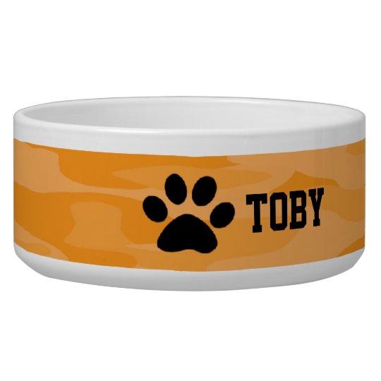 Light&Dark Orange Camouflage Personalised Dog Bowl