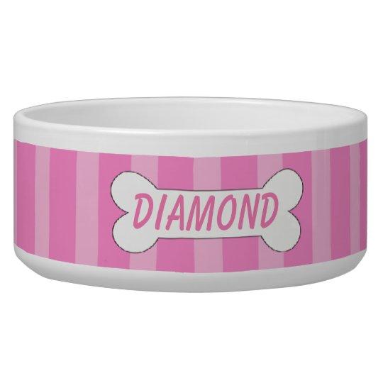 Light & Dark Pink Stripes With Bone Dog Bowl