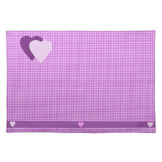 Light & Dark Purple Hearts Place Mats
